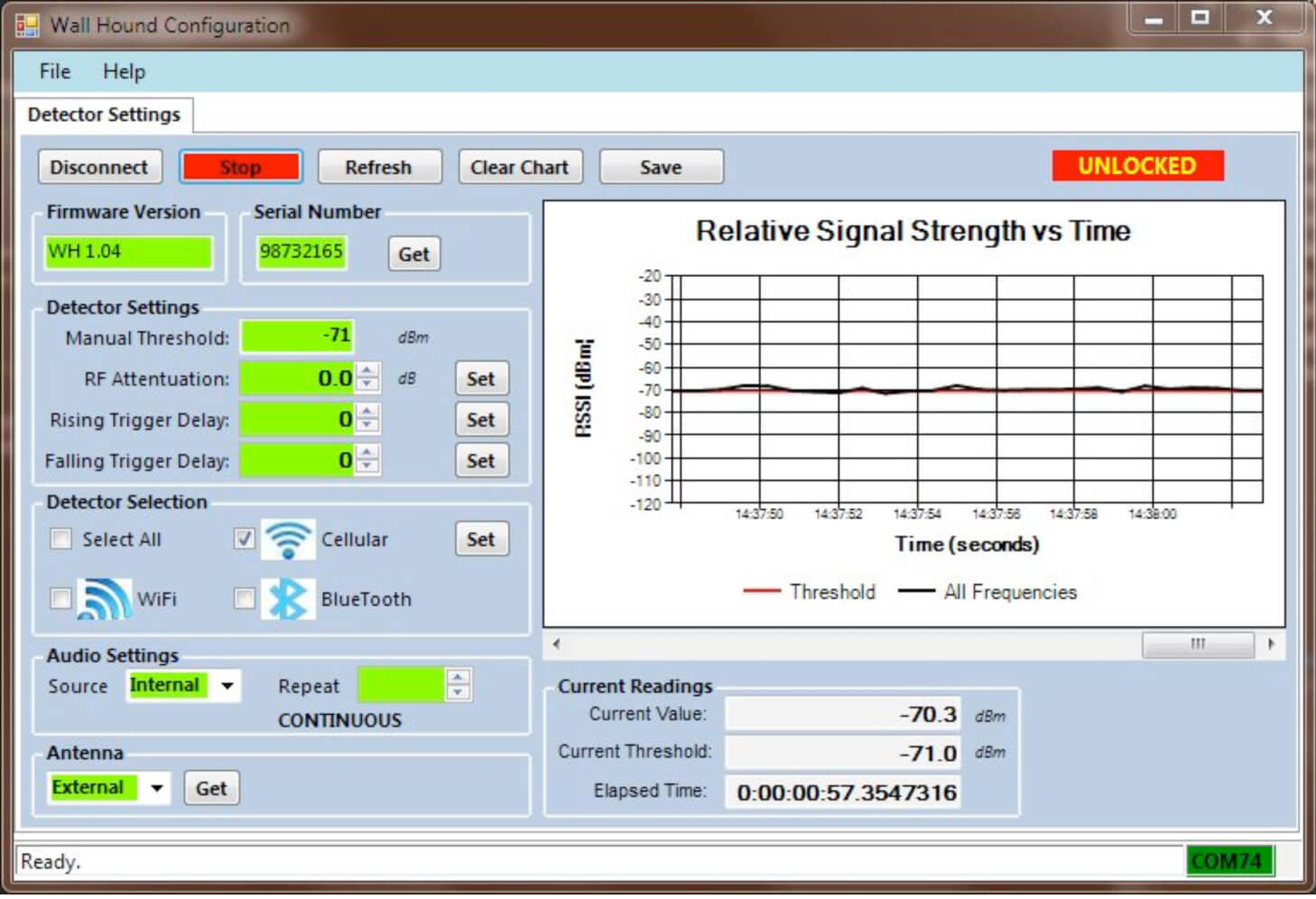 Cell phone monitoring detection